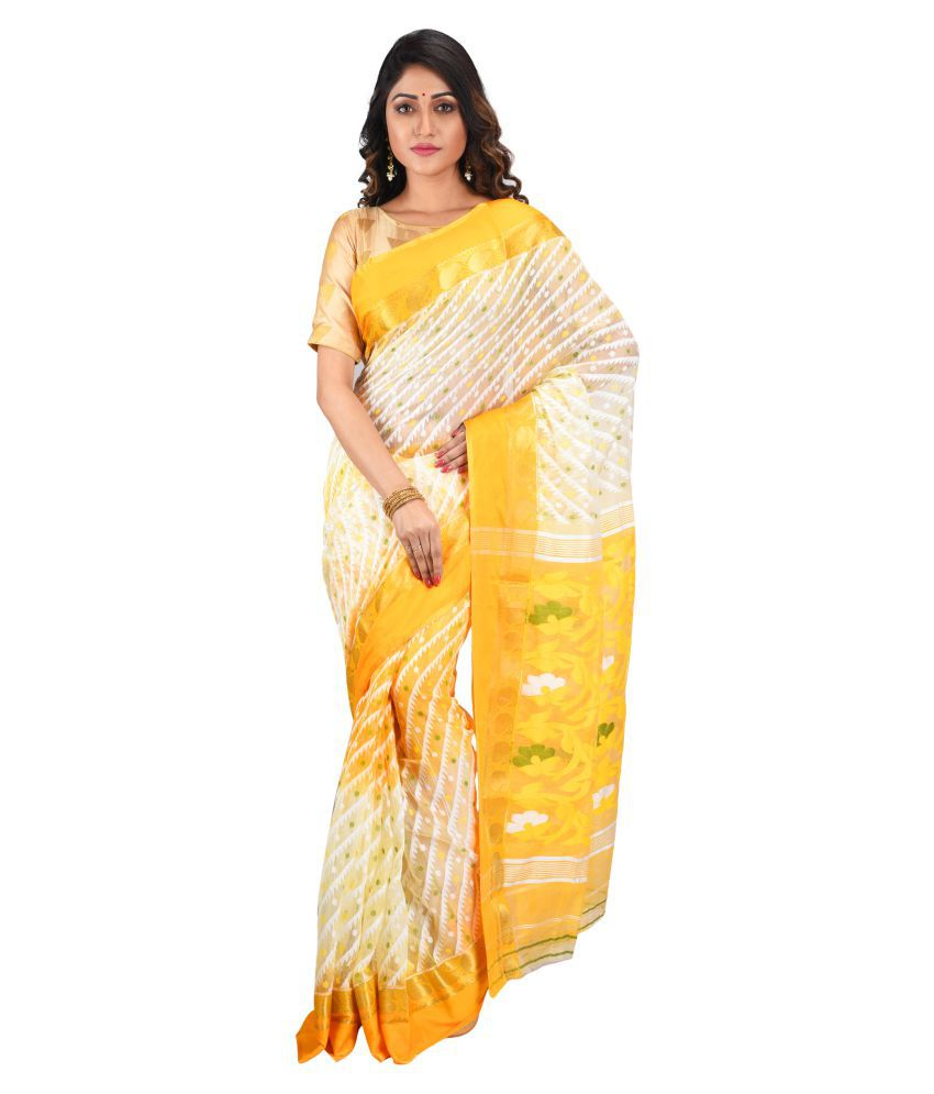 aishani collection White,Yellow Cotton Silk Saree