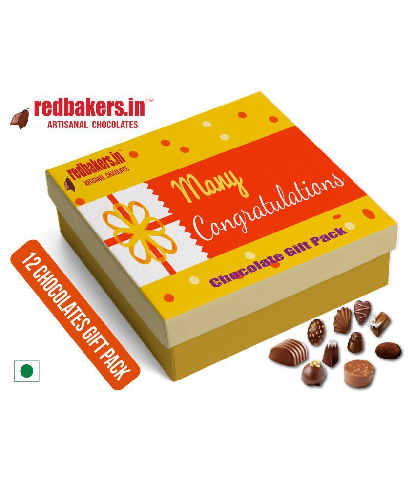 redbakers.in Chocolate Box Best Wishes 12Chocolates Gift Pack 180 gm