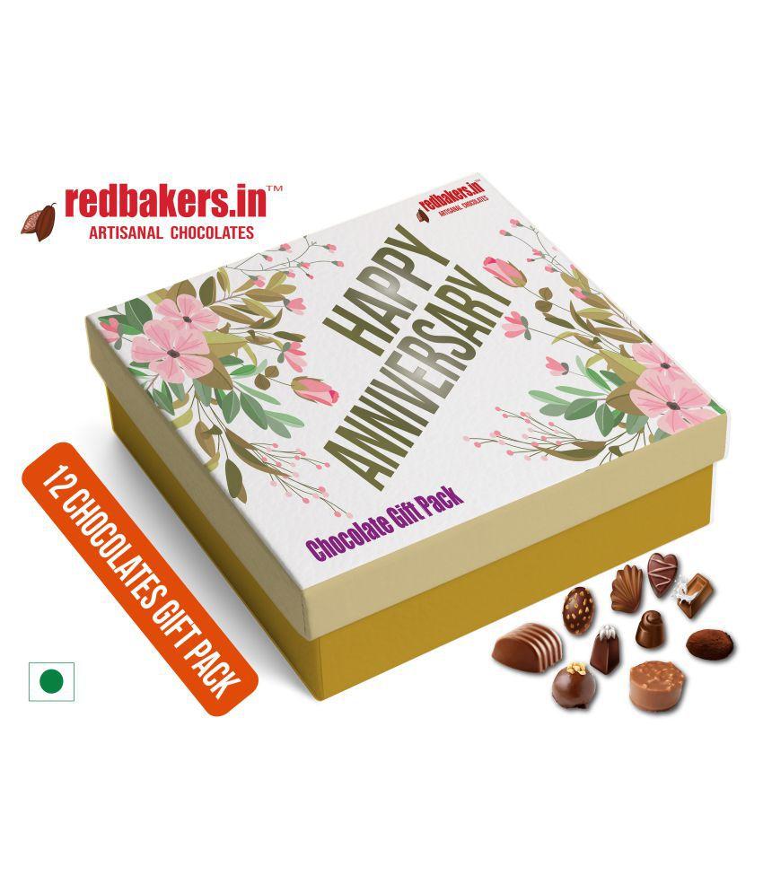 redbakers.in Chocolate Box HAPPY Anniversary 12Chocolates Gift Pack 180 gm