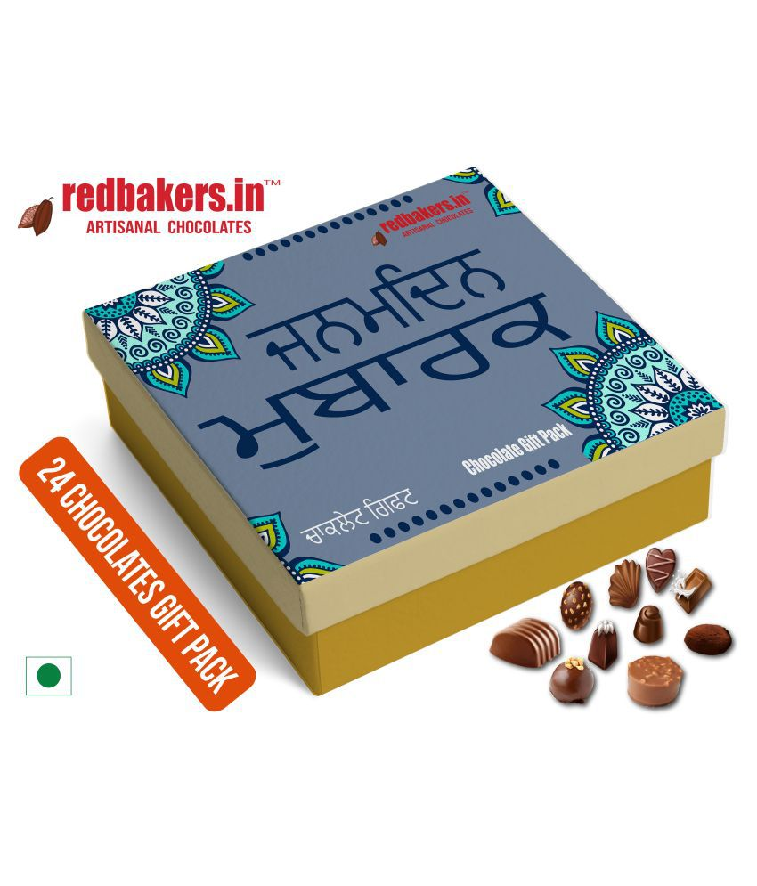 redbakers.in Chocolate Box Happy Birthday Punjabi 24Chocolates Pack 400 gm
