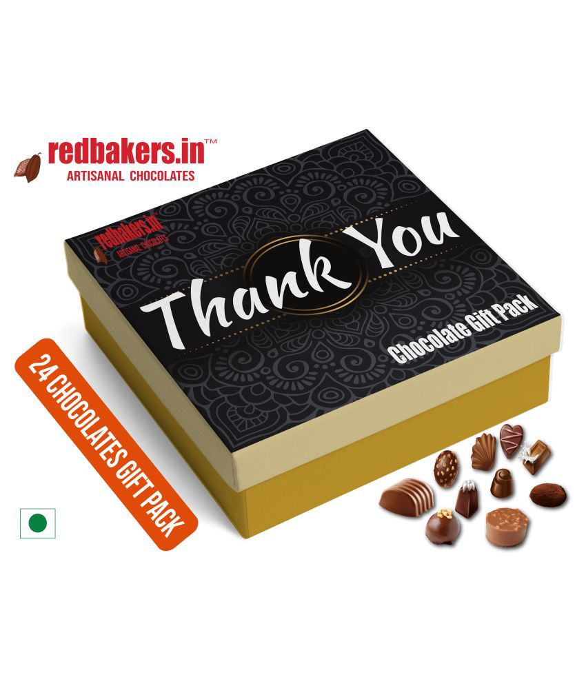 redbakers.in Chocolate Box ThankYou 24Chocolates Gift Pack 400 gm