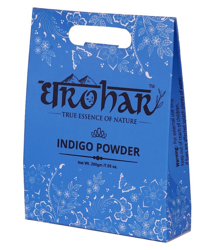 DHAROHAR AYURVEDA Dharohar Dharohar Natural Indigo Leaf Powder Temporary Hair Color Indigo Black 200 g