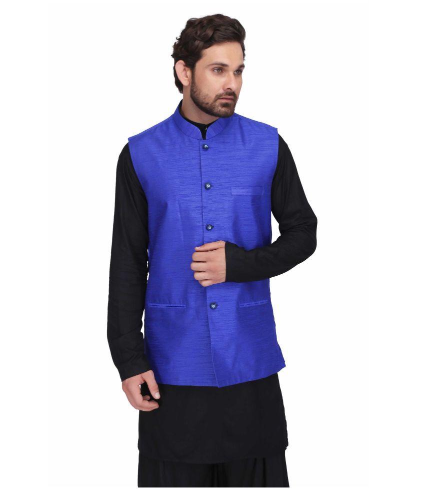 INDIA FASHION HOUSE Blue Silk Blend Nehru Jacket