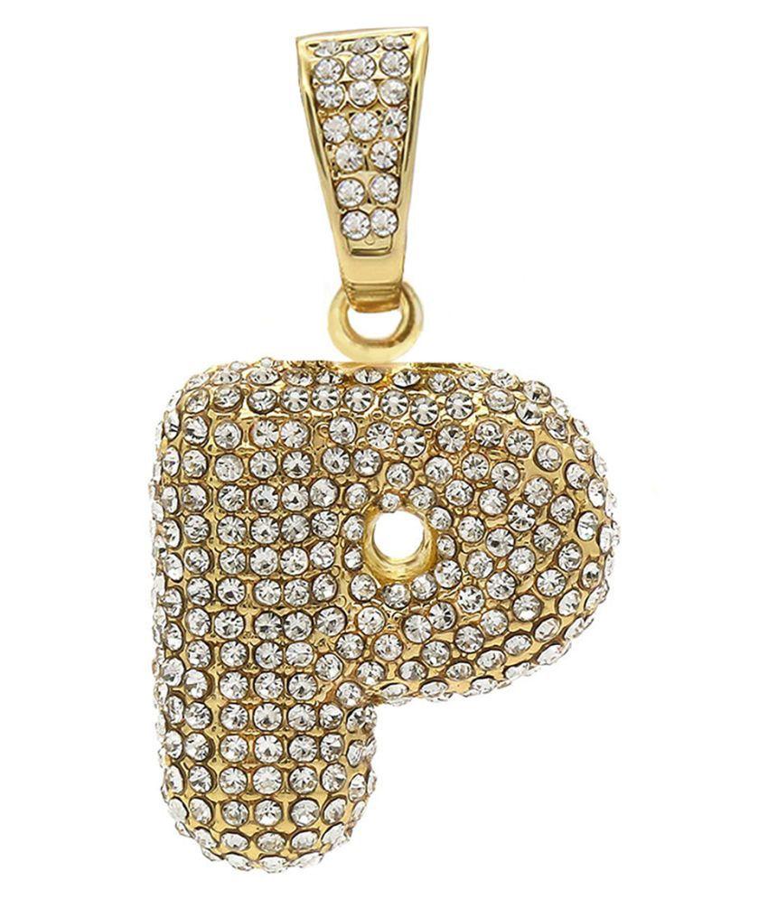 Zivom® Hip Hop Iced Out Alphabet Initial Letter P 18k Gold Pendant Women Men