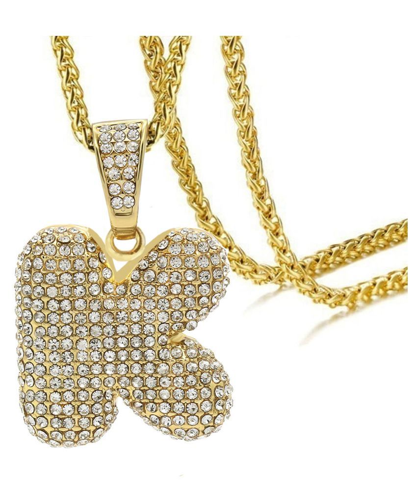 Zivom® Hip Hop Iced Out Alphabet Initial Letter K 18k Gold Rope 22