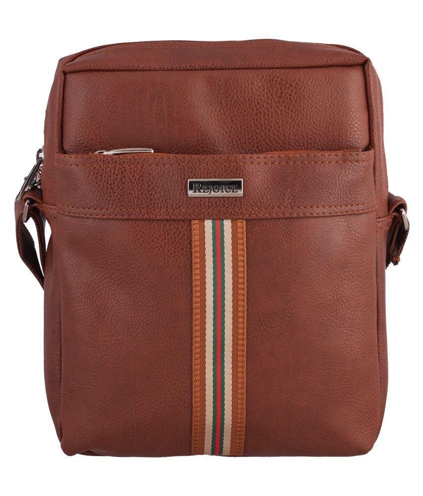 Rejoice Rejoice Sony Medium Tan P.U. Casual Messenger Bag