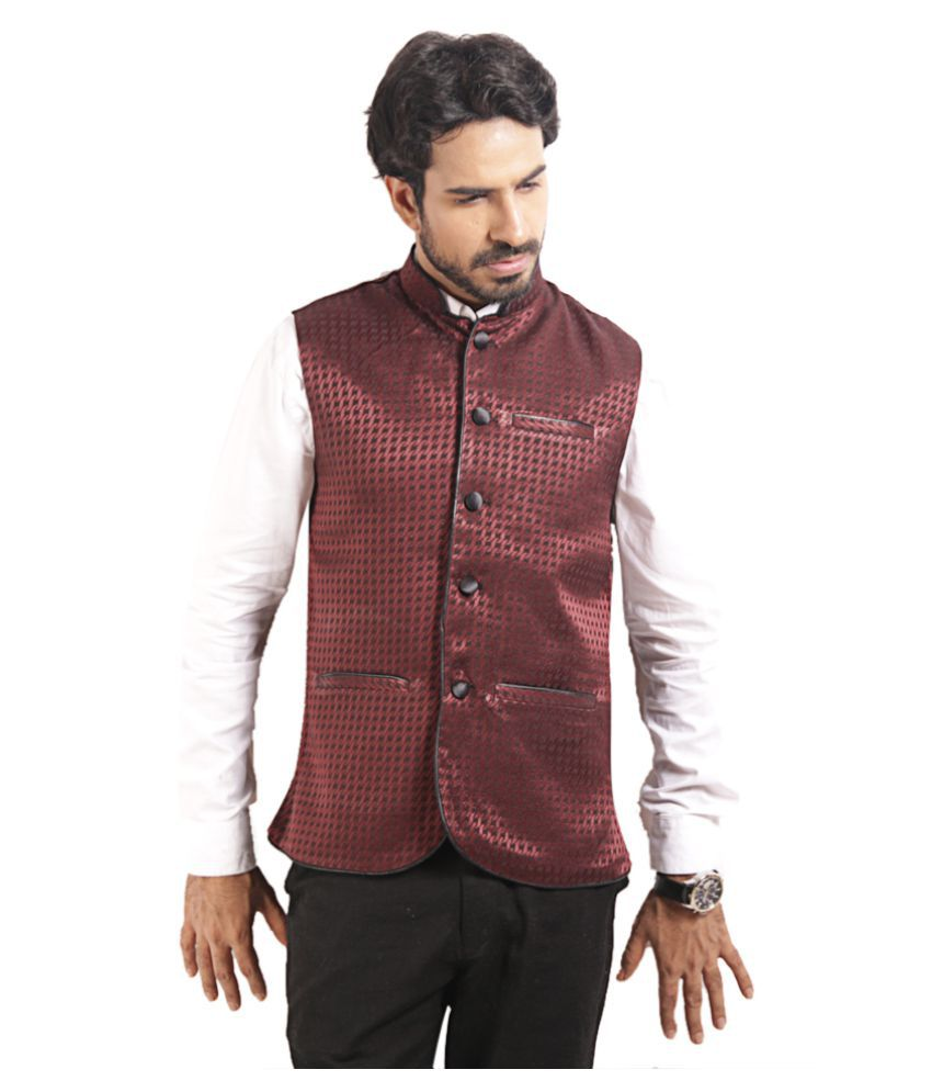 Star Collection Black Polyester Blend Nehru Jacket