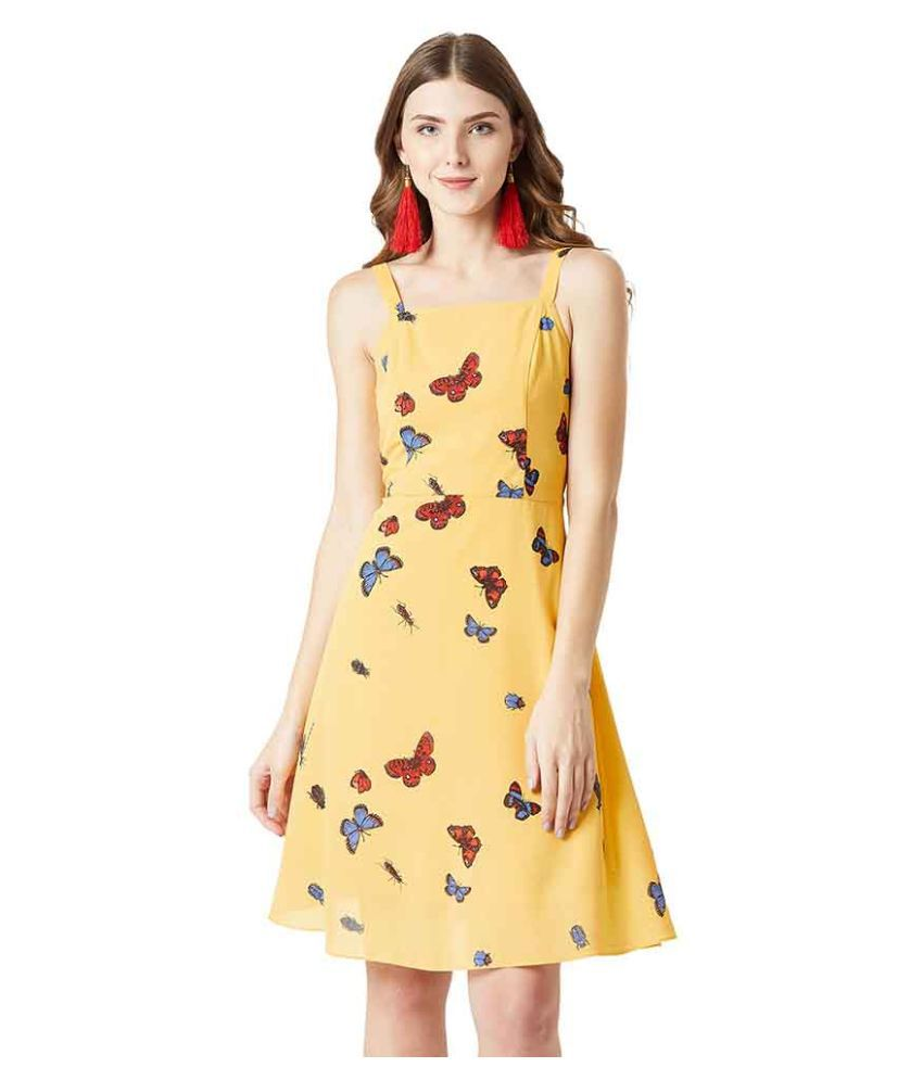 Miss Chase Georgette Yellow Skater Dress