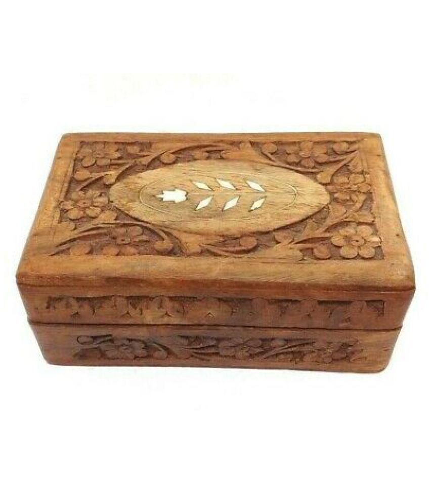 Wooden Jewelry Trinket Box Hand Carved Keepsake Storage Inlaid Flower Design