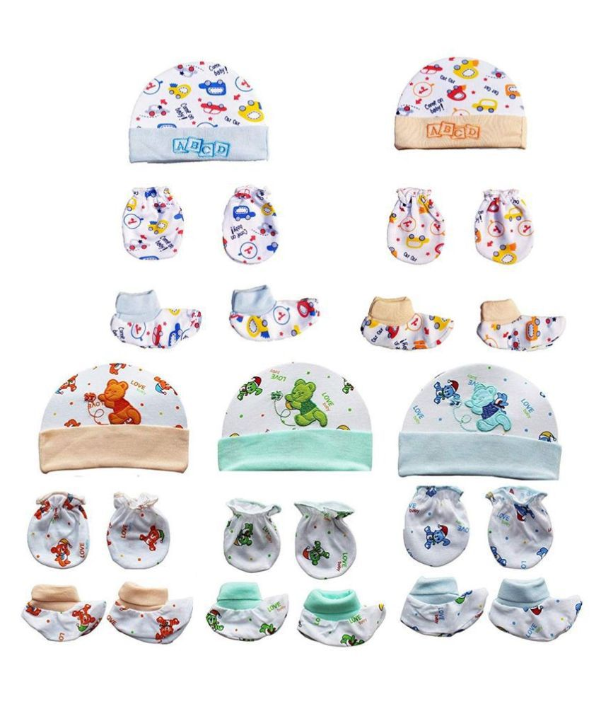 Gouravsumana Baby Boys and Baby Girl's Soft Cotton Cap ( Multicolour ; Pack Of 5 ) 0-6 Months