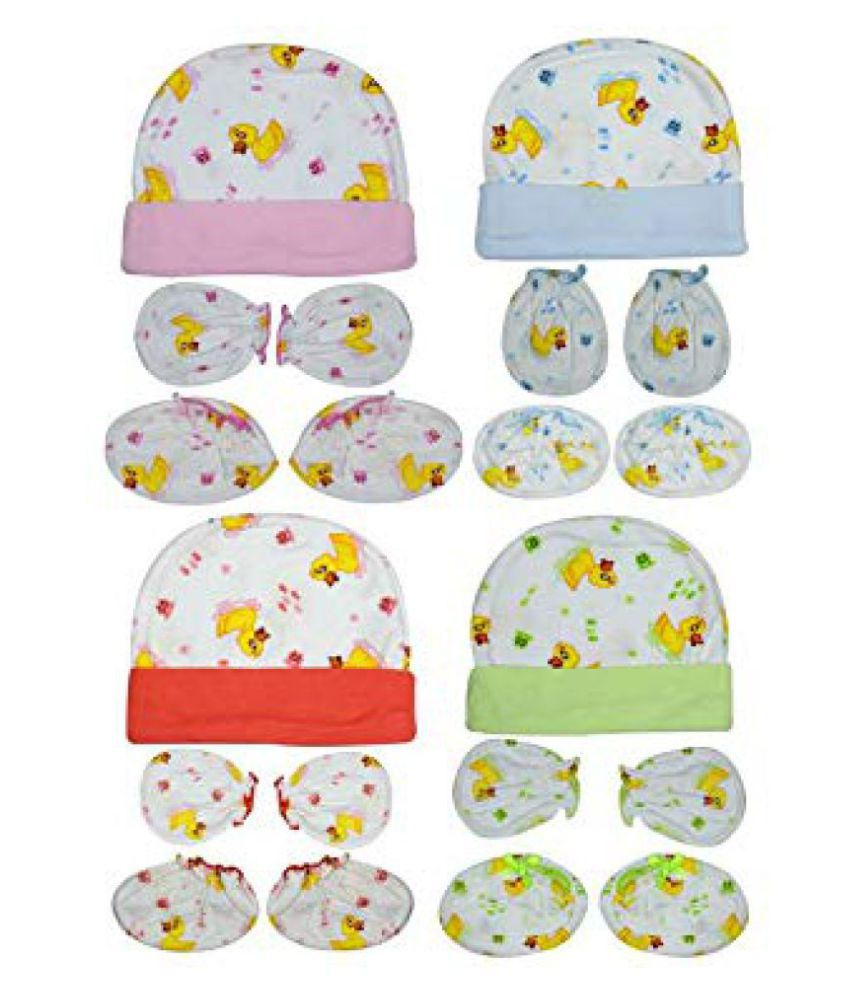 Gouravsumana Baby Boys and Baby Girl's Soft Cotton Cap ( Multicolour ; Pack Of 4 ) 6-9 Months