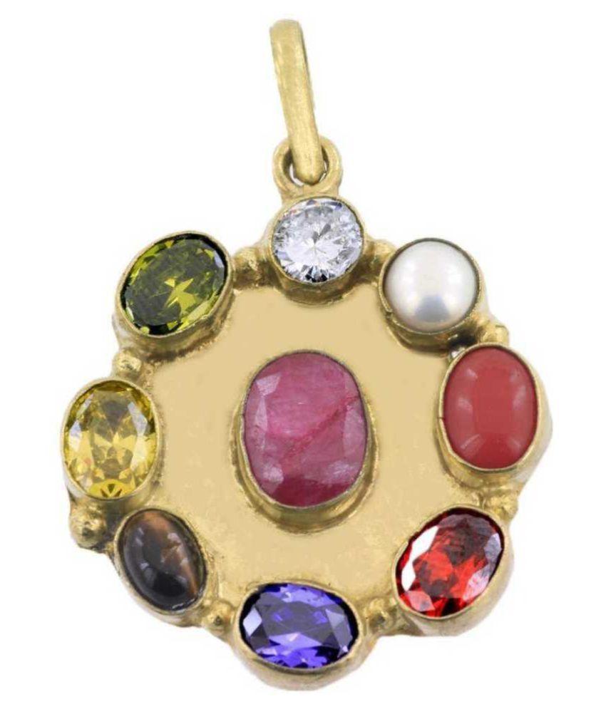 PARUSHI GEMS Navratan Pendant Original Natural Navratan Gold Plated Locket Pendant Nine Gemstone Pendant Navgrah Pendant Good Luck Symbol Gift Pendant for unisex