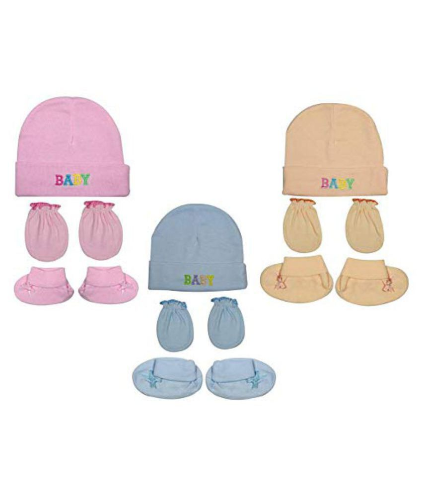 Gouravsumana Baby Boys and Baby Girl's Soft Cotton Cap ( Multicolour ; Pack Of 3 ) 3-6 Months