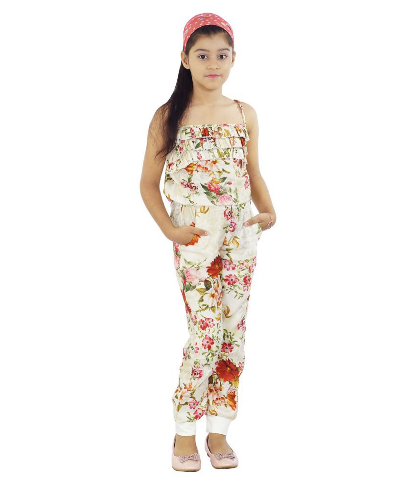 Girls Off-White Floral Print Jumpsuit