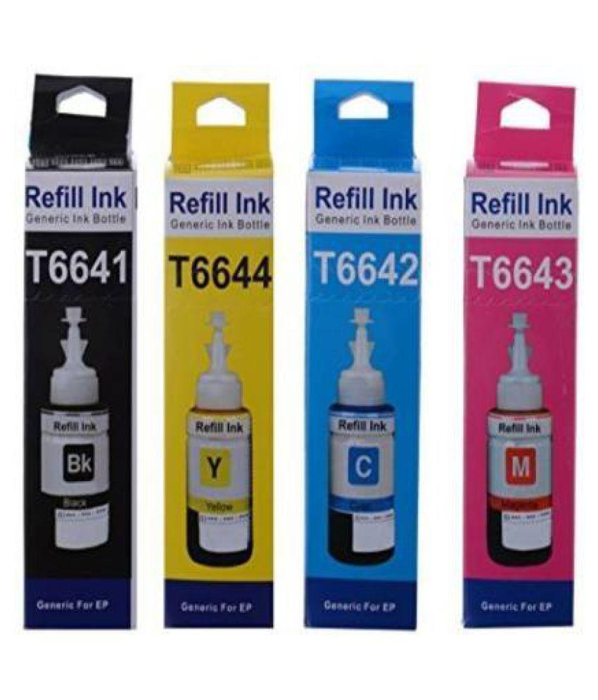 PrintCare Multicolor Pack of 4 Ink bottle for L100L300L380L360