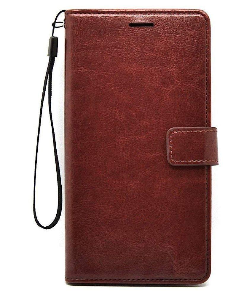 Samsung Galaxy J7 Prime 2 Flip Cover by MobileMantra   Brown Vintage Flip Wallet Case
