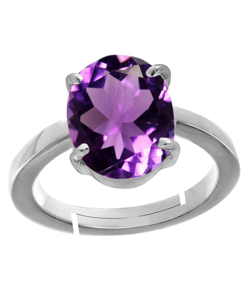 4.25 Ratti Amethyst Purple Crystal Stone Silver with matel Adjustable Ring for Men and Women for Astrological Purpose