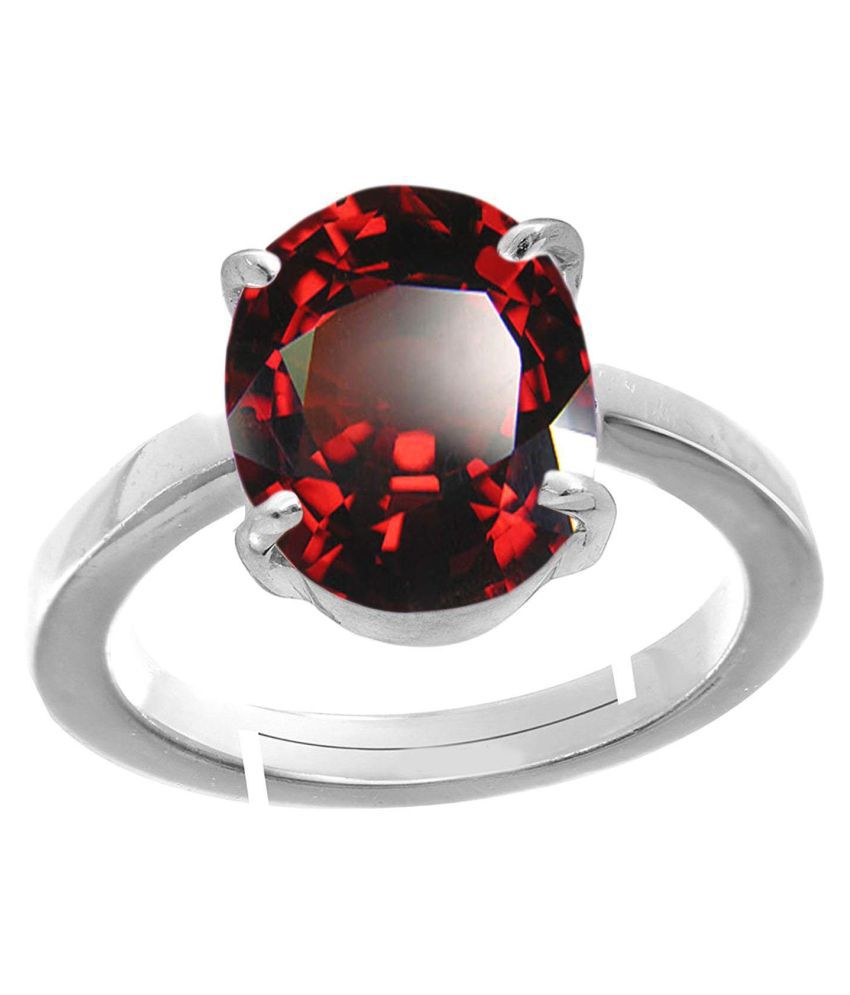 Todani Jems® 5.25 Ratti Gomedhikam  Hessonite Ceylon Gomed Stone with Lab Certified hessonite Garnet Silver Ring