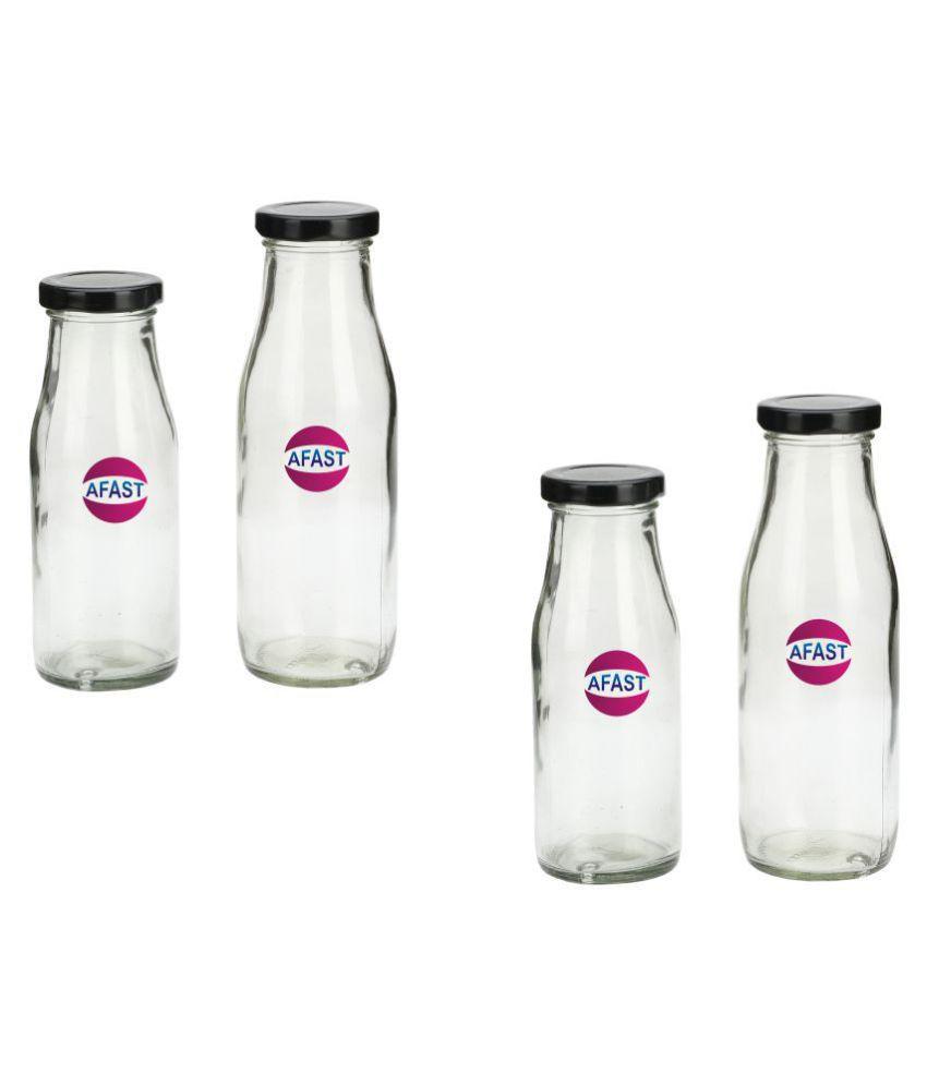 AFAST Transparent Jar Glass Oil Container/Dispenser Set of 4 300 mL