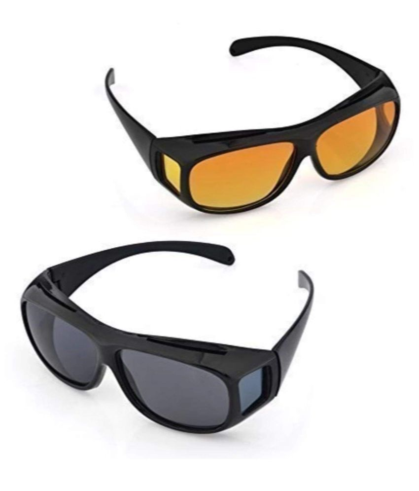 Easy Big Deals HD Vision Anti Glare Men's and Women's Sunglasses (Black) - Pack of 2