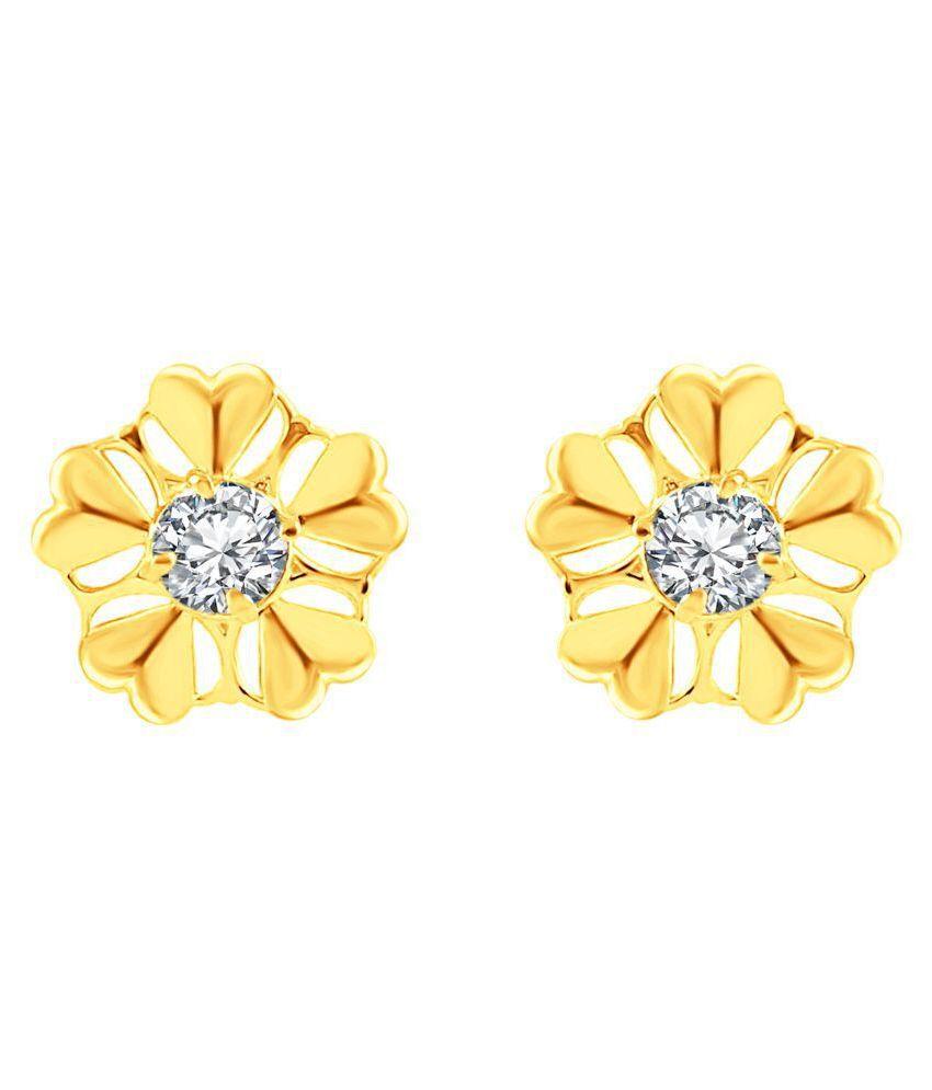 MFJ Fashion Jewellery Inspired Heart Shape Brass Gold Plated Stud Earring For Women