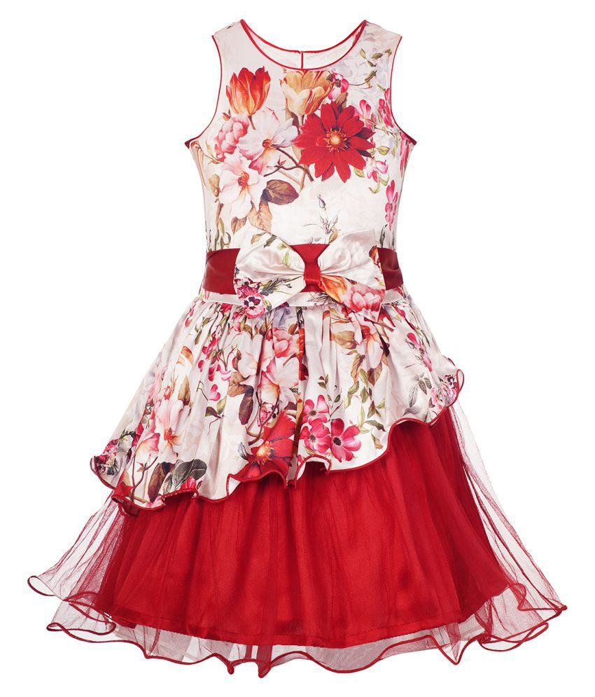 Naughty Ninos Girls Cream And Red Floral Printed Dress