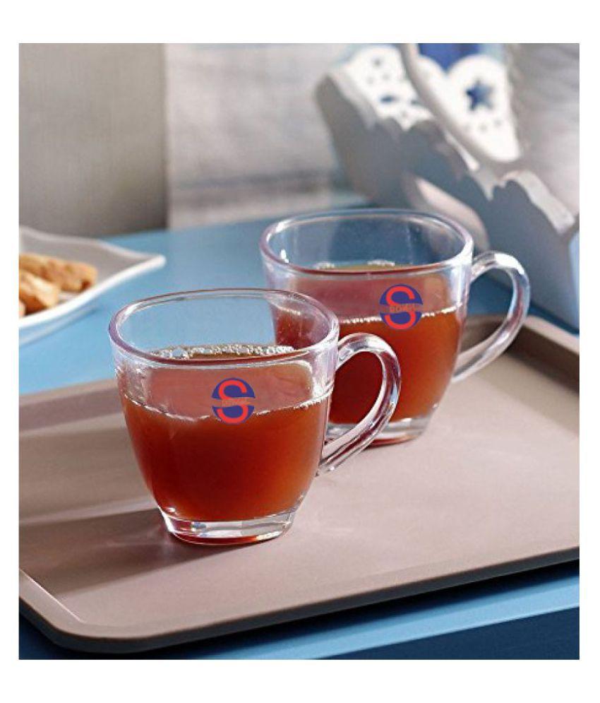 Somil Glass Stylish Tea Cup Tea Set 2 Pcs 150 ml