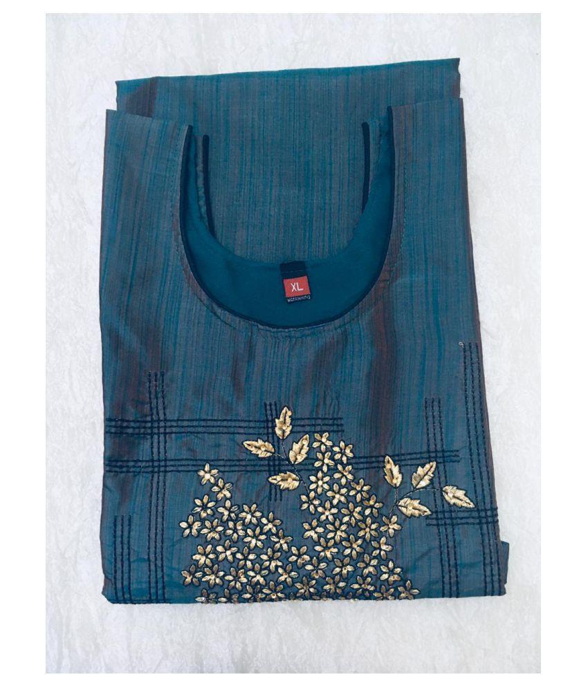 USHAKIRAN Blue Bangalore Silk Straight Kurti