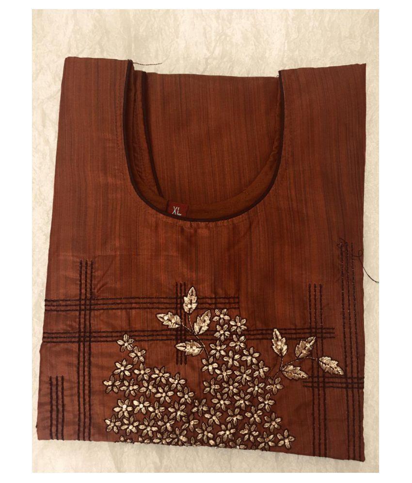 USHAKIRAN Brown Bangalore Silk Straight Kurti