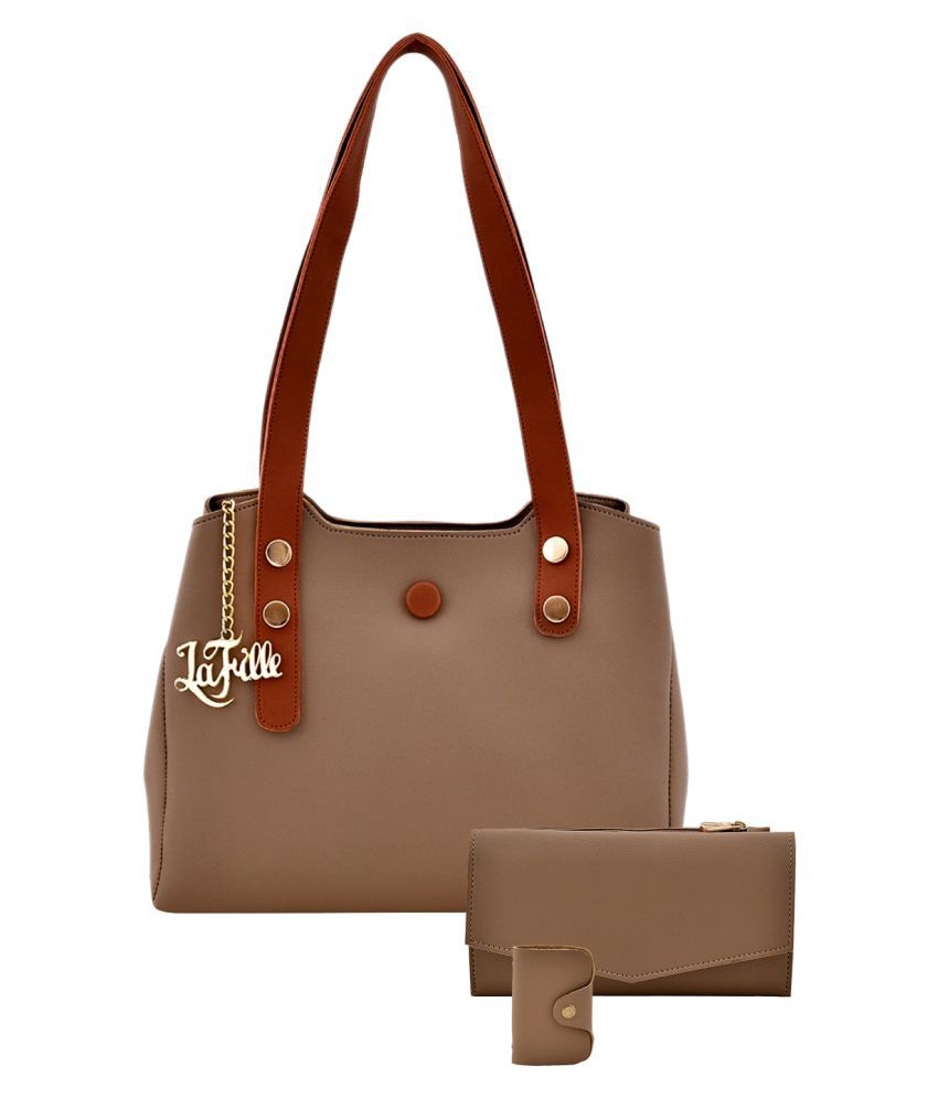 LaFille Beige Faux Leather Handheld