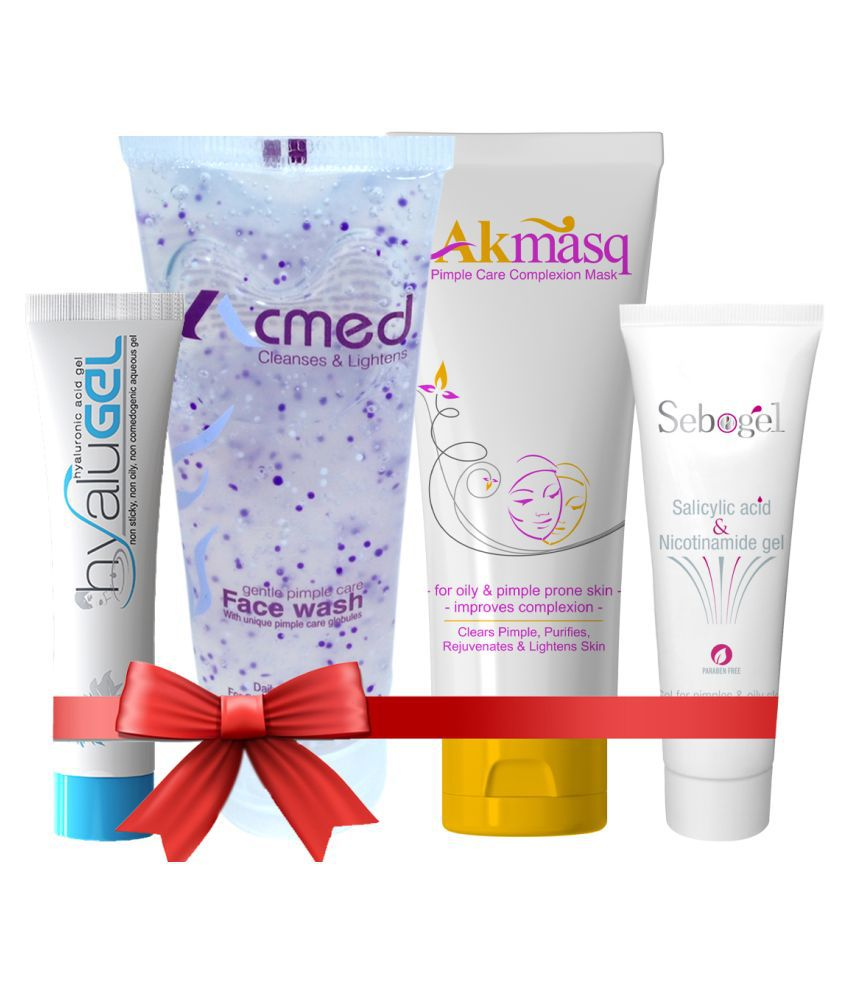 Ethiglo - Acmed Face Wash, Akmasq, Sebogel and Hyalugel Facial Kit mL Pack of 4