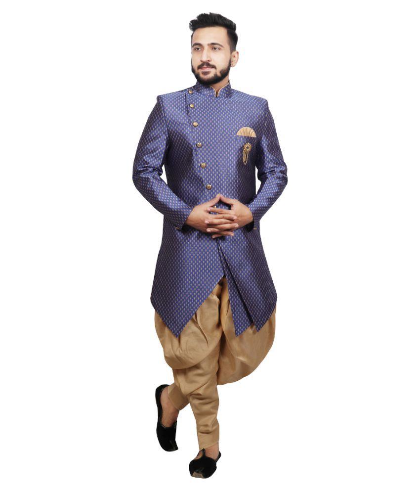 SG RAJASAHAB Blue Silk Blend Sherwani