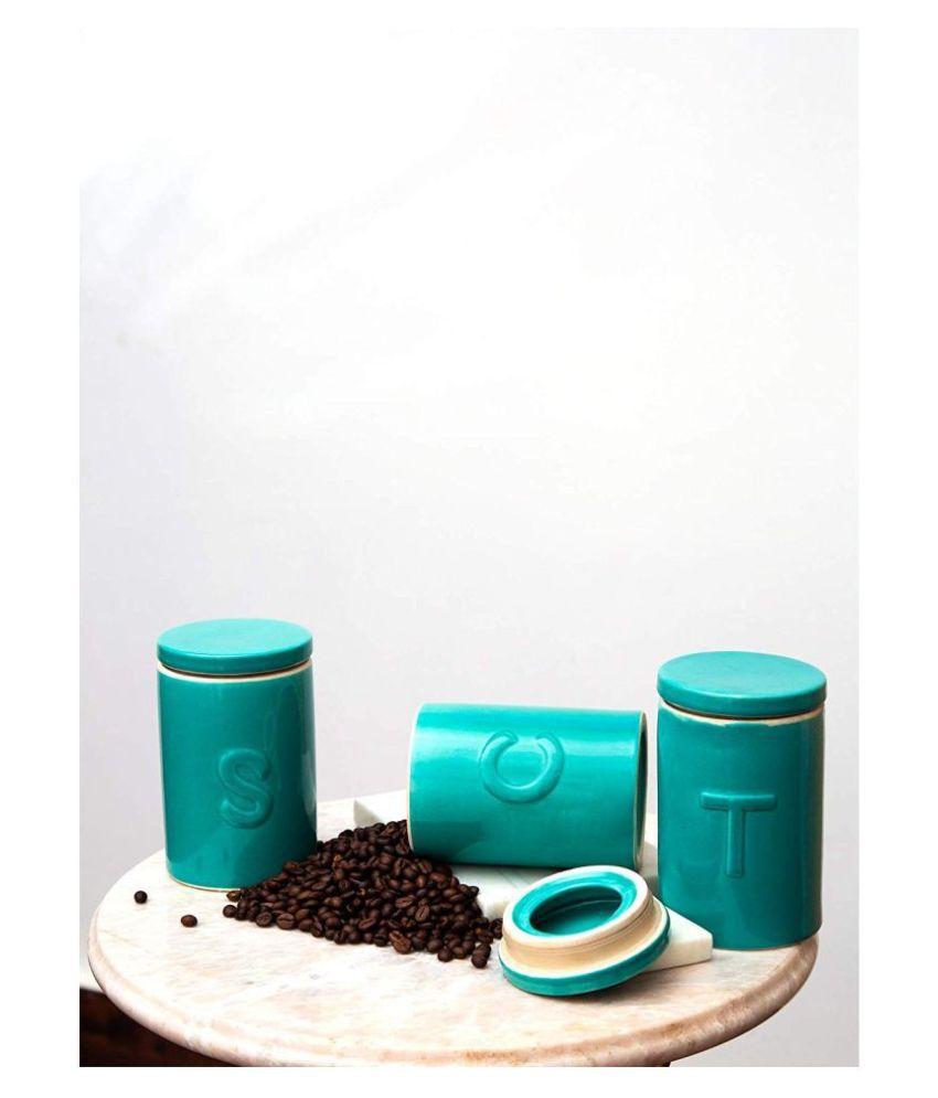 Casa Decor Ceramic Tea/Coffee/Sugar Container Set of 3 500 mL