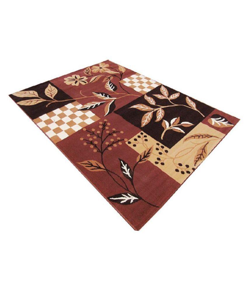 FIROZ AND BROTHERS Brown Polypropylene Carpet Geometrical 4x6 Ft
