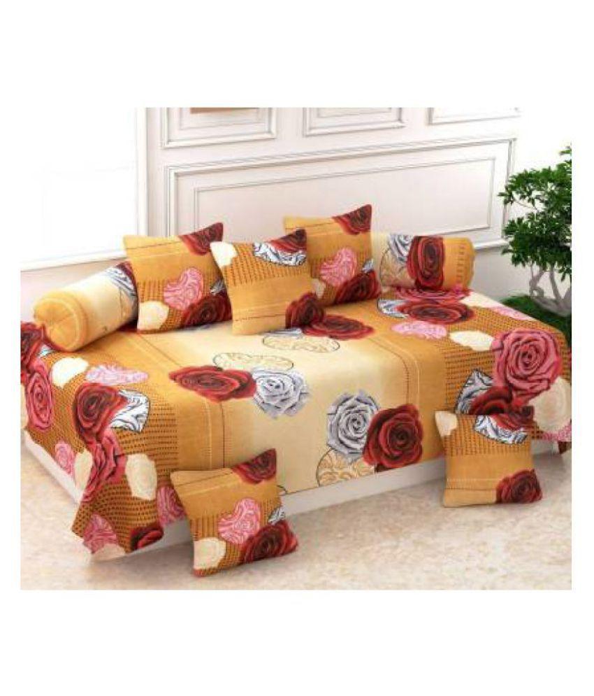 KS21 Homes Poly Cotton Gold Floral Diwan Set 8 Pcs