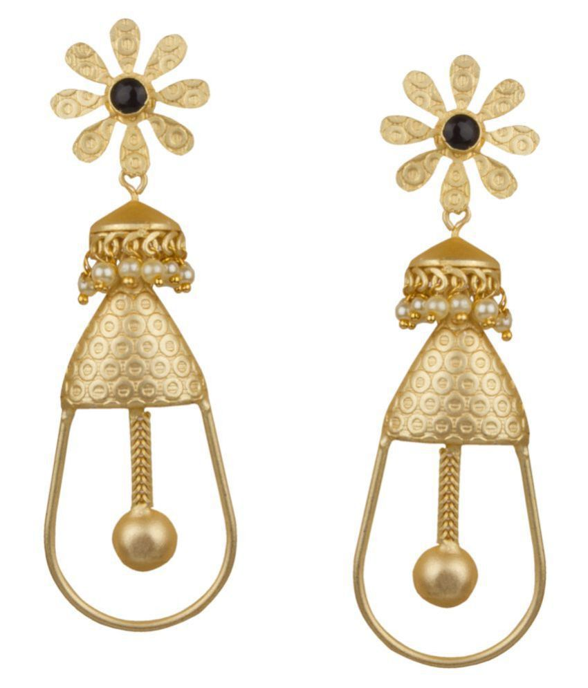 Piah Fashion Stunning Matt Gold With White \nPearl & Melanite Garnet Stone  Dangling Earring \nFor Women & Girls