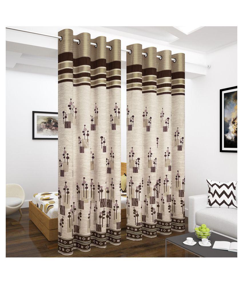 Story@Home Set of 2 Long Door Blackout Room Darkening Eyelet Jute Curtains Brown