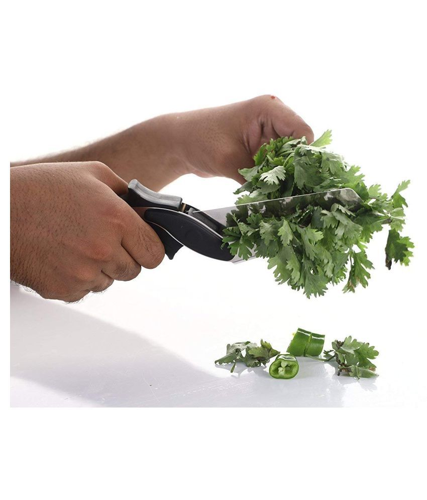 Vmoni 2 in 1 Clever Cutter Stainless Steel Vegetable Scissor - Length of Blade (in cm)