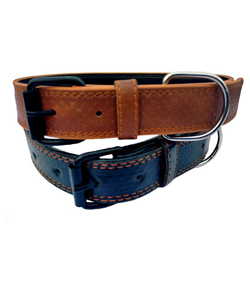 Peto Lovers Pet Shop Leather Dog Collar Neck Belt for Medium Dogs Combo(Brown and Black)