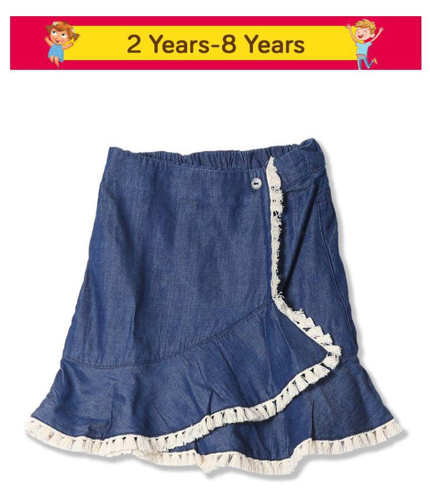 Girls Wrap Front Chambray Skirt