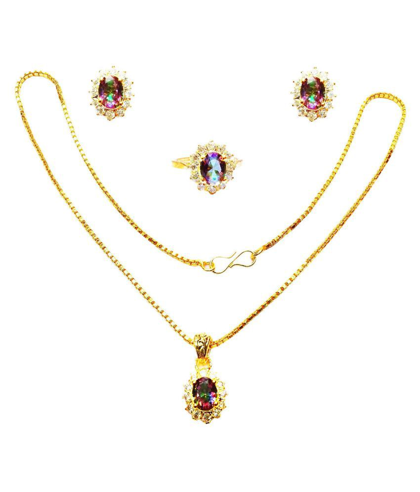Vinayak Cluster Jewel Set American Diamond (Mistic Quartz)