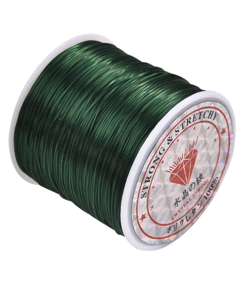 0.8mm Dark Green Elastic Cord Thread for Jewelry and Bracelet Making