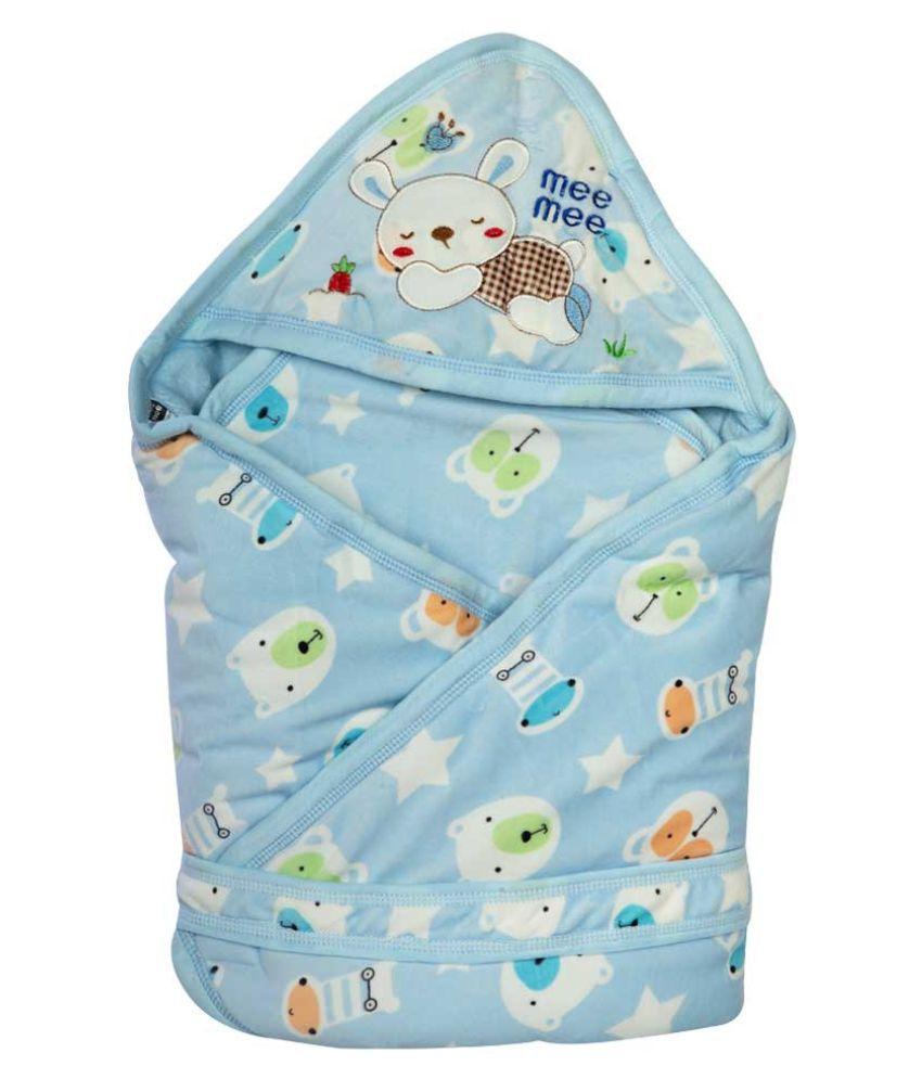 Mee Mee Multi-Colour Cotton Baby Wrap cum blanket ( 43 cm × 4 cm - 1 pcs)