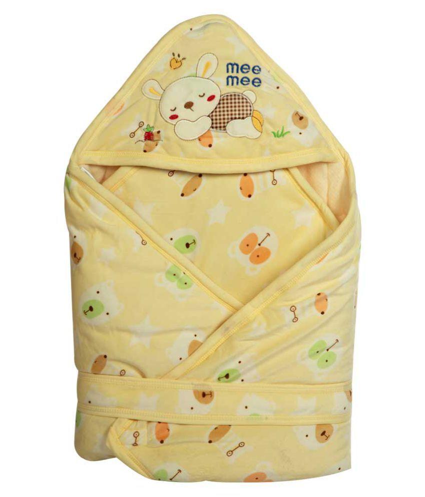 Mee Mee Yellow Cotton Baby Wrap cum blanket ( 43 cm × 4 cm - 1 pcs)