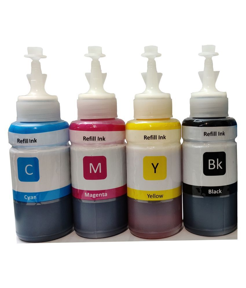 REFILL INK HP GT Series Multicolor Pack of 4 Ink bottle for Black Pigment Compatible GT 5810, 5820, 5821, 310,319,315