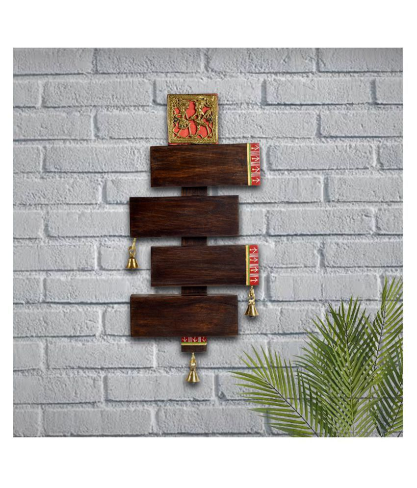 Unravel India name plate with dokhra and metal bells Designer Shape Decorative Plate Brown - Pack of 1