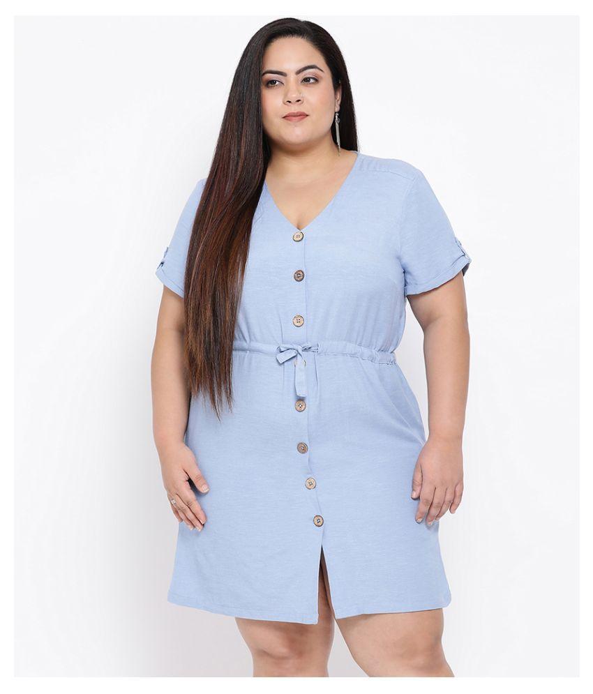 Oxolloxo Cotton Blue A- line Dress