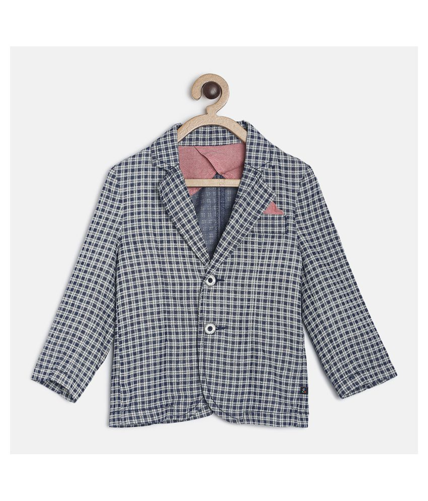 Tales & Stories Boys Dark Blue Checked Tailored Fit Single-Breasted Blazer