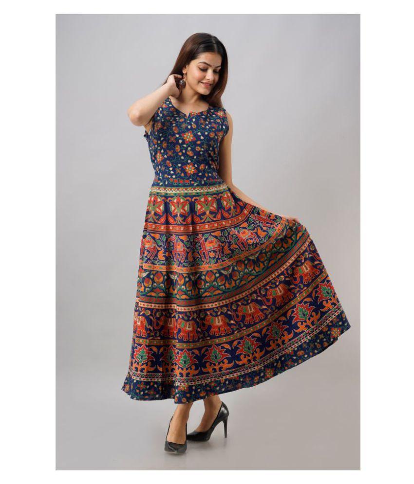Urbanera Cotton Blue A- line Dress