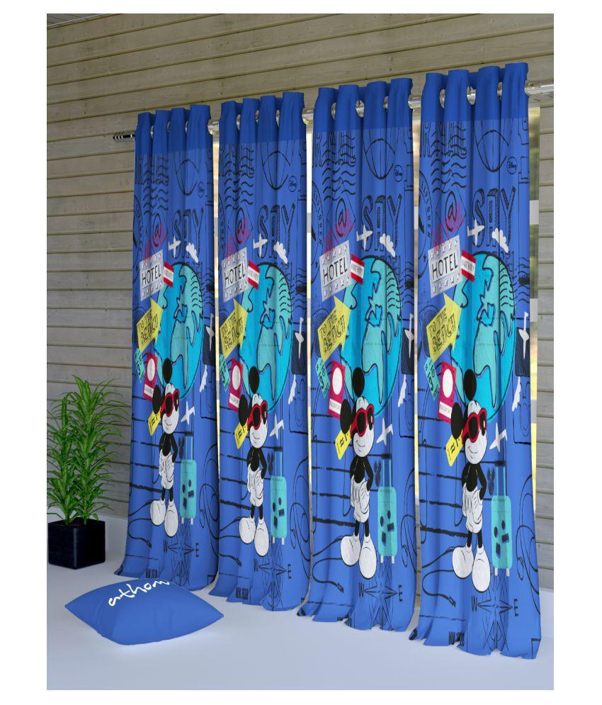 Disney Set of 4 Door Semi-Transparent Eyelet Polyester Curtains Blue